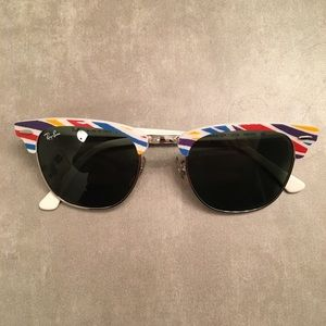 Ray Ban Clubmaster RB 3016 White Rainbow New!